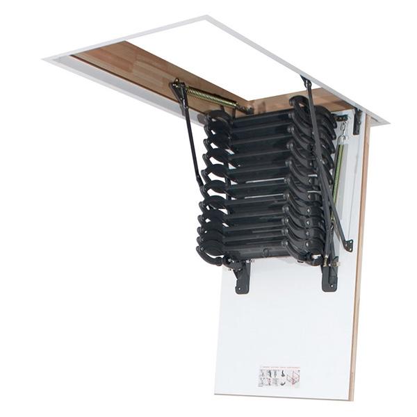 echelle escamotable a ciseau avec caisson en m tal. Black Bedroom Furniture Sets. Home Design Ideas