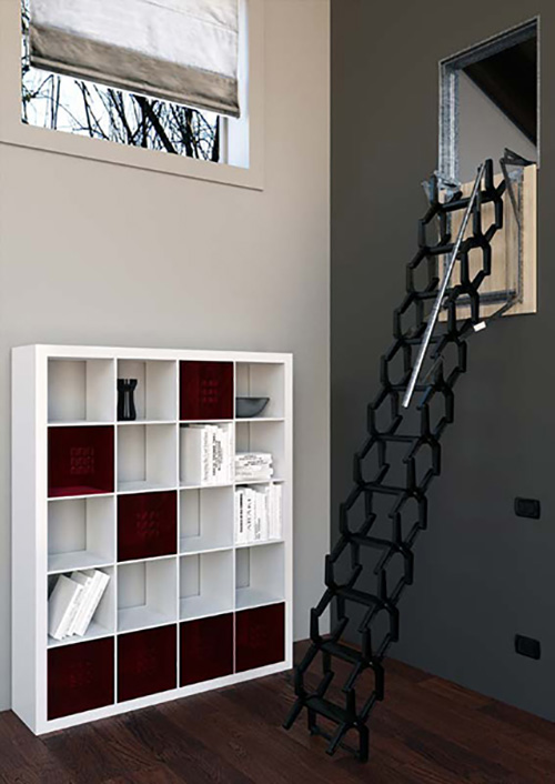 echelle escamotable murale de ou de hauteur. Black Bedroom Furniture Sets. Home Design Ideas