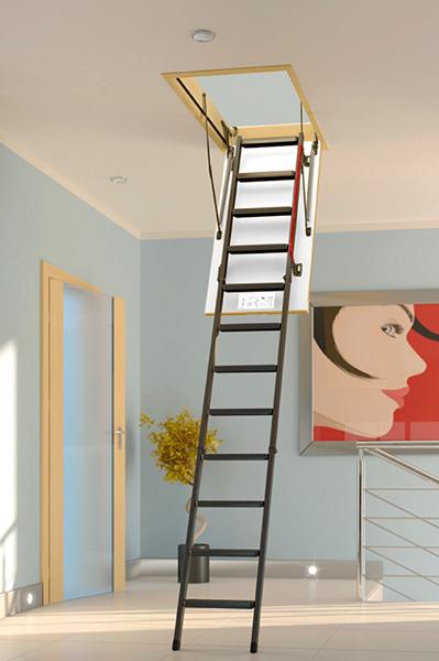 echelle escamotable metallique avec rampe lat rale. Black Bedroom Furniture Sets. Home Design Ideas