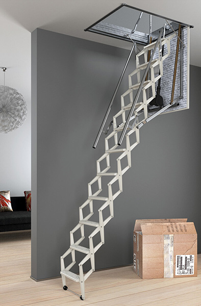 escalier escamotable lectrique escalier motoris pour un acc s facile. Black Bedroom Furniture Sets. Home Design Ideas