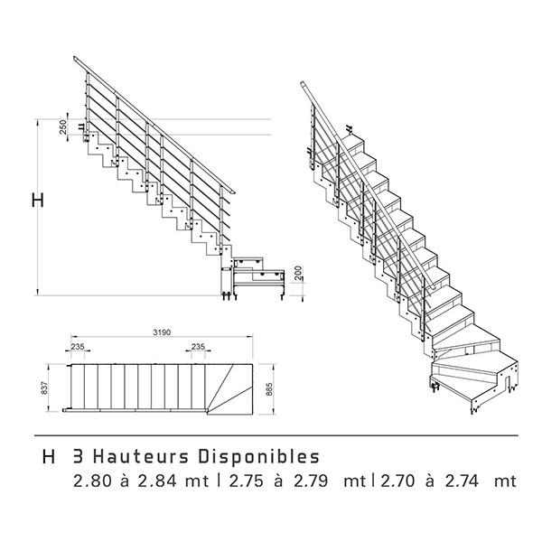 Escalier quart tournant largeur 83 cm for Tremie escalier quart tournant