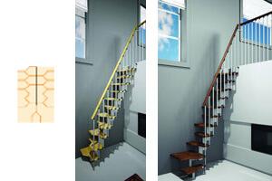 Escalier petit espace - Configuration en L
