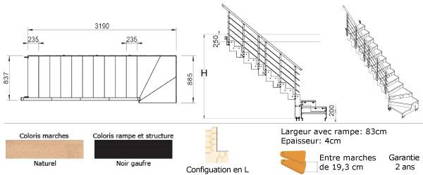 escalier quart tournant largeur 83 cm. Black Bedroom Furniture Sets. Home Design Ideas