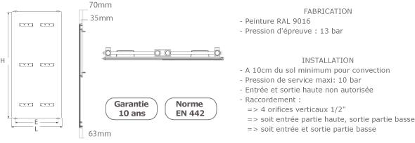 schema du radiateur acier vertical