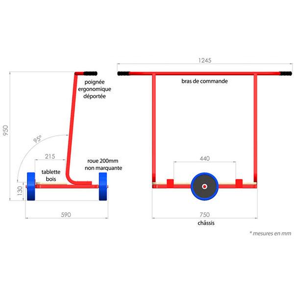 chariot bras fixes dimensions