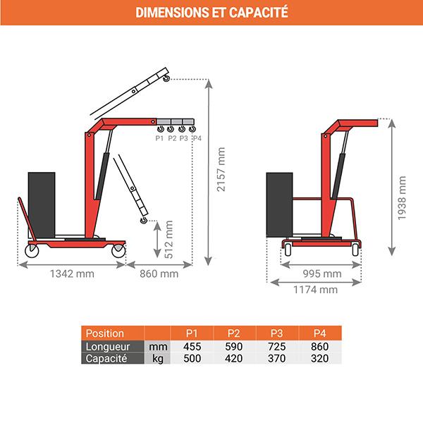 dimensions chevre de levage rotative