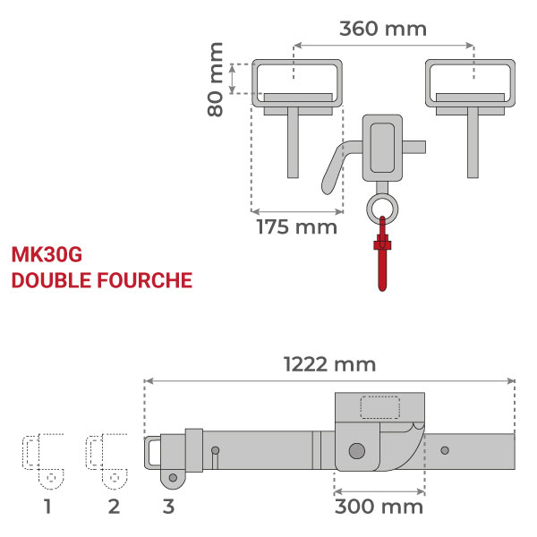 dimensions potence double fourche galva MK G