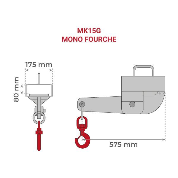 dimensions potence monofourche galva MK G