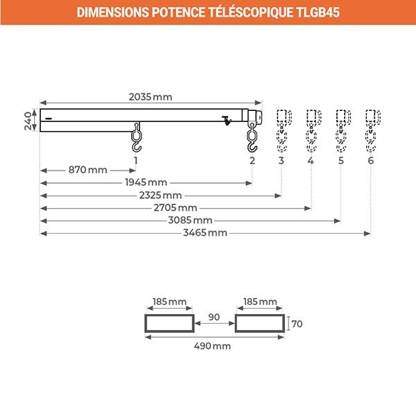 dimensions potence telescopique galva TLBG45