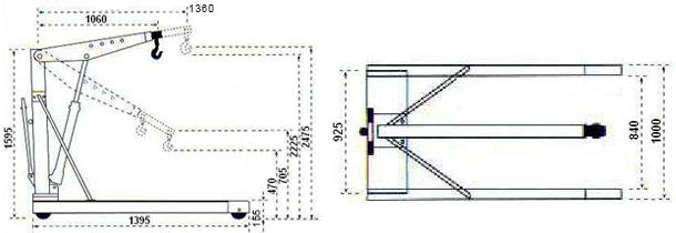 schéma de la chevre de levage pour palette