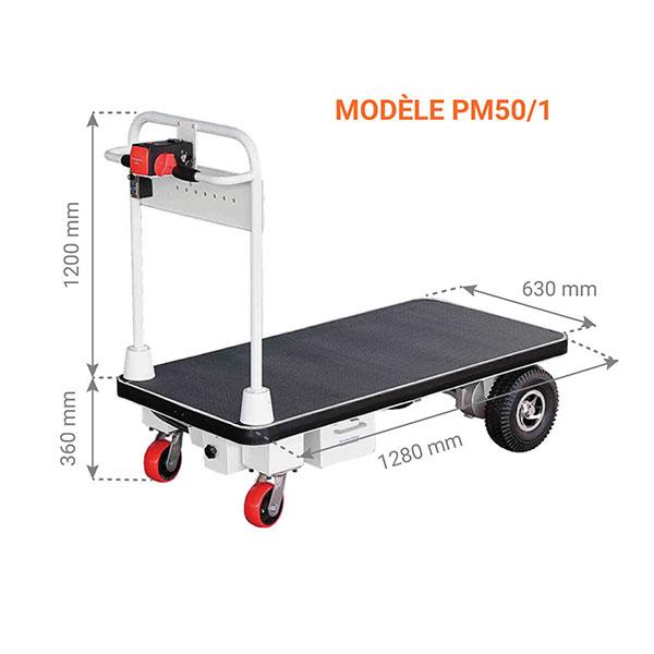 chariot plateforme motorisee dimensions 500kg
