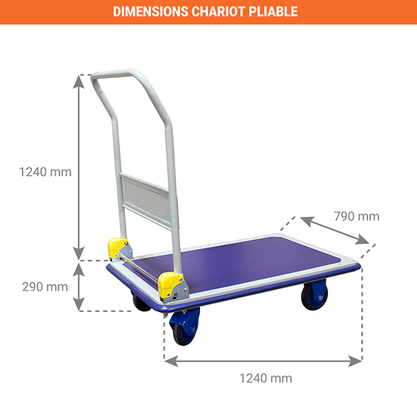 dimensions chariot pliable charge lourde