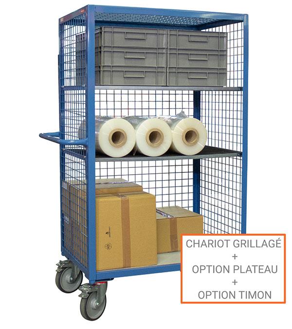 options chariot grillage 3 cotes et toit
