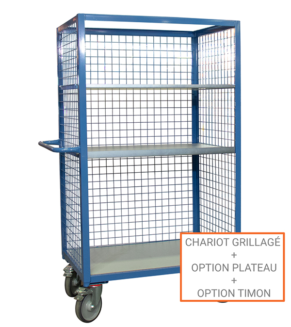 options chariot grillage 3 cotes