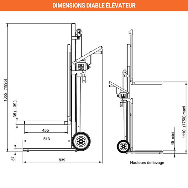 dimensions diable elevateur