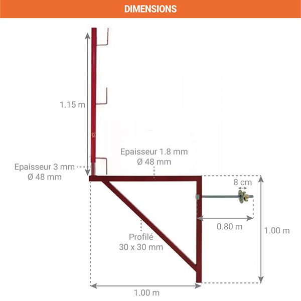 dimensions console acces echafaudage 110001004