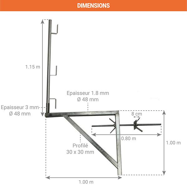 dimensions console acces echafaudage 110001009