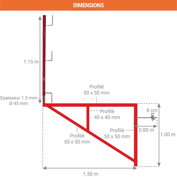 dimensions console acces echafaudage 110001504