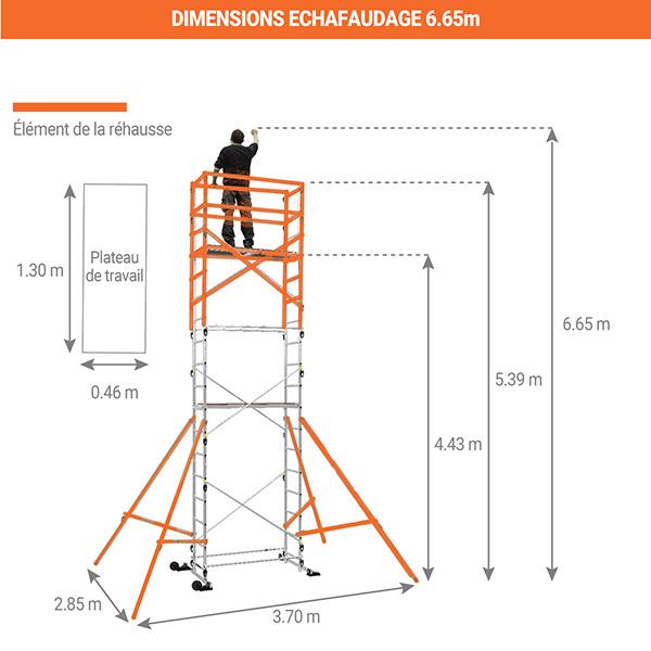 dimensions echafaudage 6m65