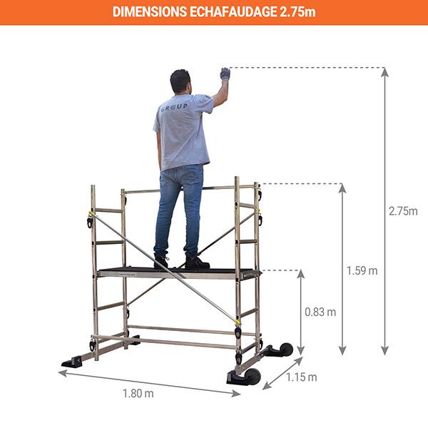dimensions echafaudage domestique 2m75