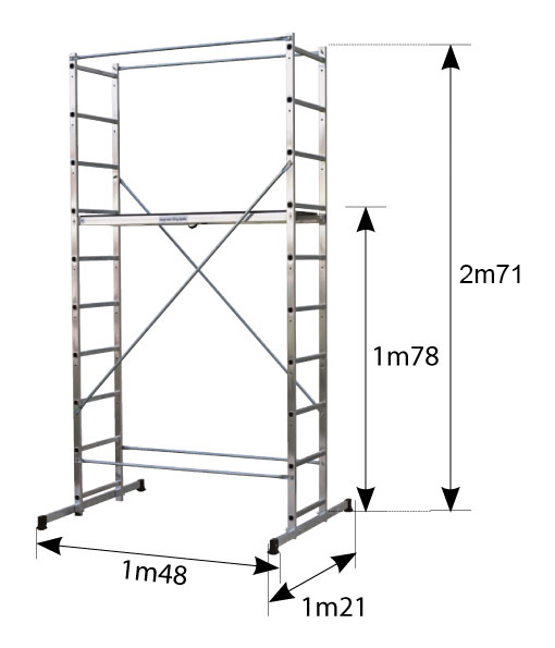 Dimensions de l'échafaudage en aluminium B4