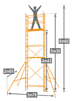 Dimensions de l'échafaudage domestique TEK'UP