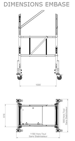 dimensions de l'embase de l'échafaudage
