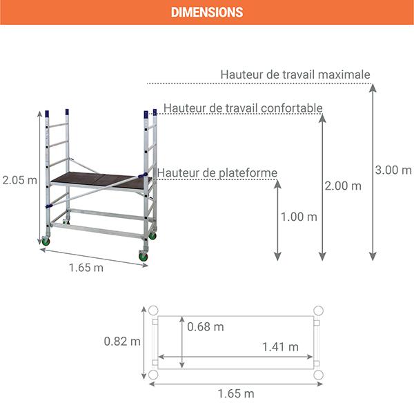 dimensions echafaudage roulant alto 205