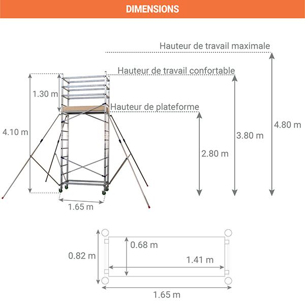 dimensions echafaudage roulant alto 410