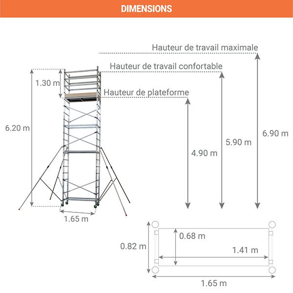 dimensions echafaudage roulant alto 620