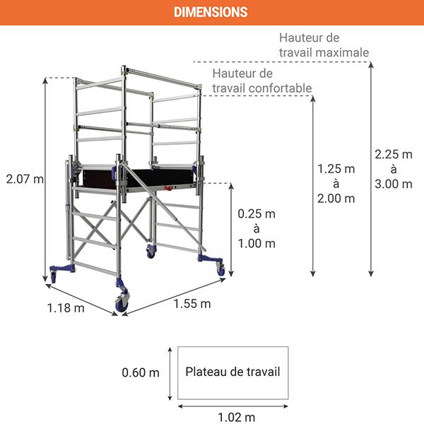 dimensions echafaudage telescopique nano