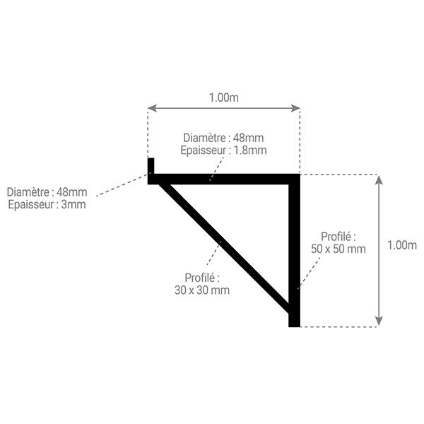 schema console echafaudage 1m