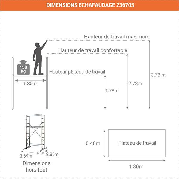 schema dimensions echafaudage 236705