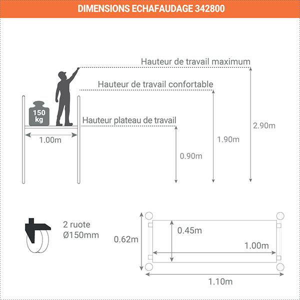schema dimensions echafaudage 342800