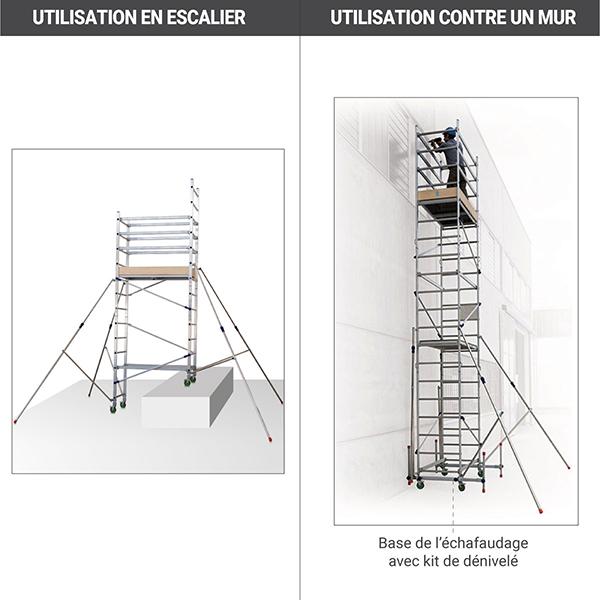 utilisation mur escalier echafaudage roulant 410