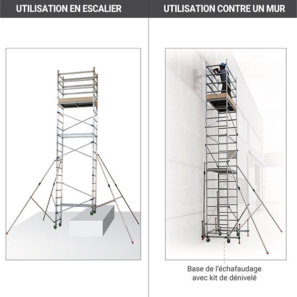 utilisation mur escalier echafaudage roulant AL620
