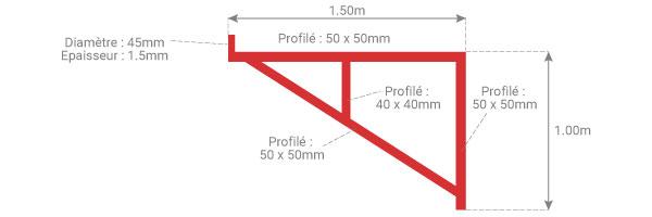 schema console echafaudage epoxy 1m50