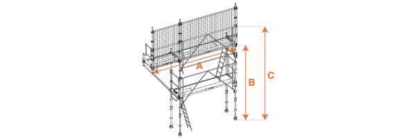 Schéma de l'échafaudage de couvreur