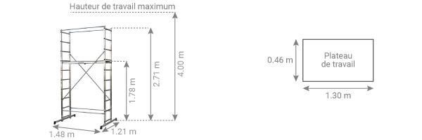 Schéma de l'échafaudage domestique en aluminium B4