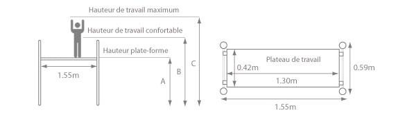 schema de l'échafaudage roulant aluminium