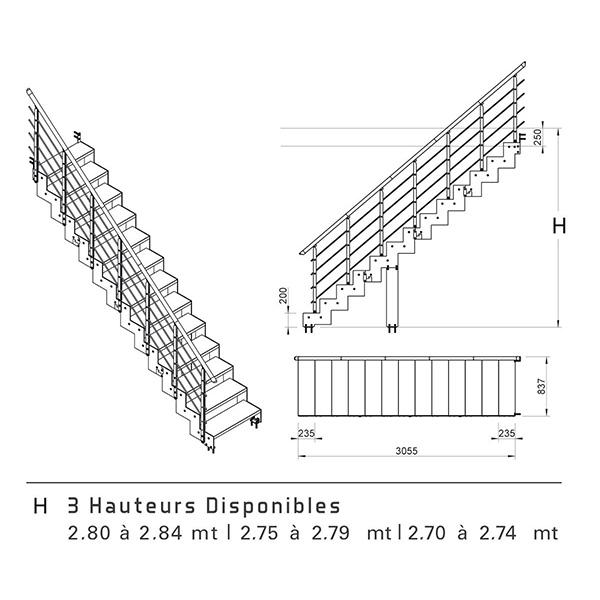 Schéma escalier droit