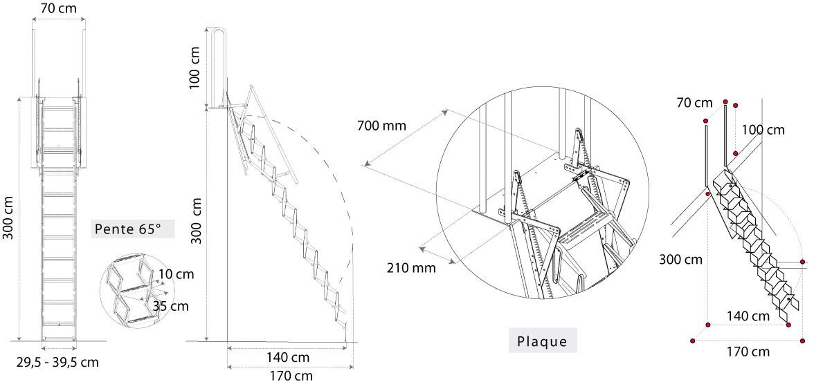 Echelle escamotable pour mezzanine avec main courante t l scopique - Escalier escamotable pour mezzanine ...
