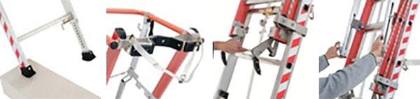 details echelle appui mixte aluminium fibre