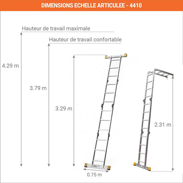 dimensions echelle articule deployees 4410