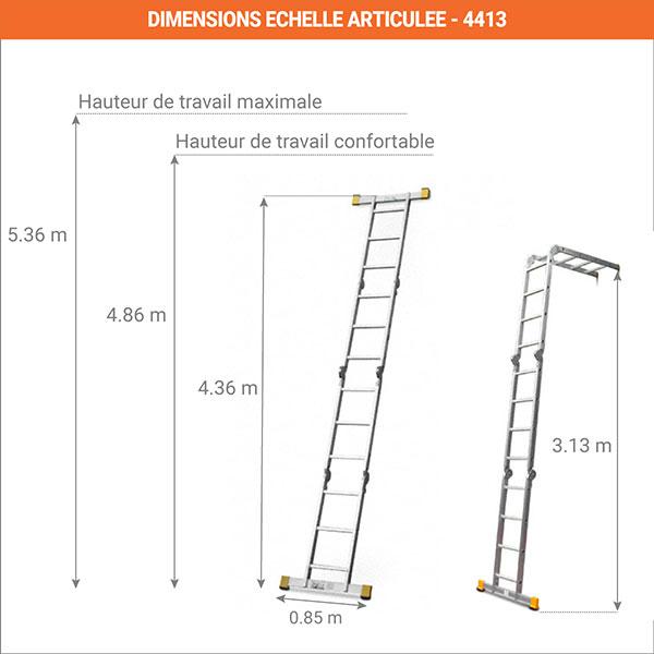 dimensions echelle articule deployees 4413