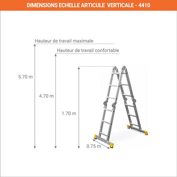 dimensions echelle articule verticale 4410P