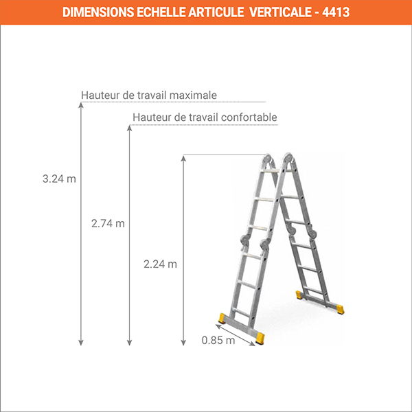 dimensions echelle articule verticale 4413