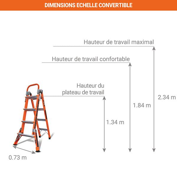 dimensions echelle convertible isolante 15295