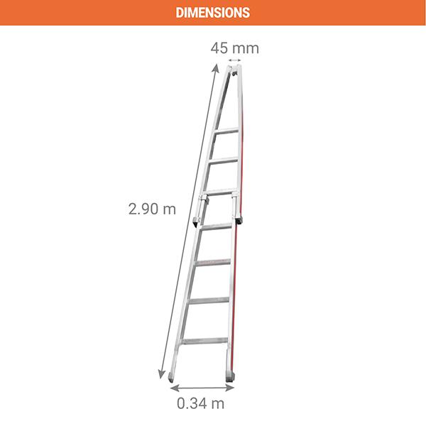 dimensions echelle de laveur vitre