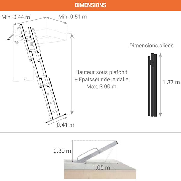 dimensions echelle escamotable 9344